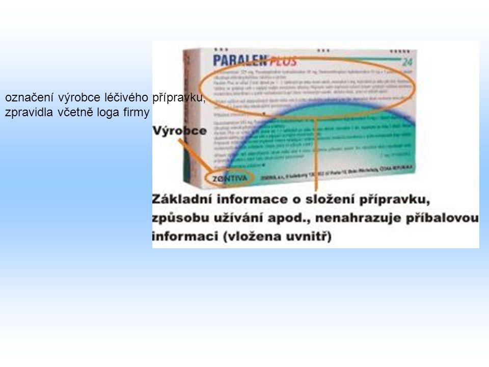 POPIS KRABIČKY LÉKU NA PŘEDPIS Účinná látka: základní léčivá látka, která je nositelem vlastních účinků léku Pomocná látka: látka, která umožňuje zpracování vlastní účinné látky označuje lékovou skupinu - skupinu léků určených k léčbě konkrétní poruchy, zpravidla uvedeno odborným latinským názvem (např.