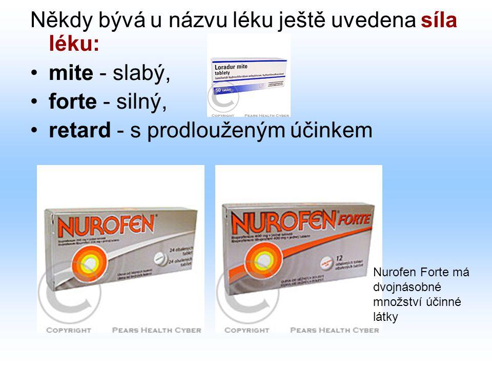 Někdy bývá u názvu léku ještě uvedena síla léku: mite - slabý, forte - silný, retard - s prodlouženým účinkem Nurofen Forte má dvojnásobné množství úč