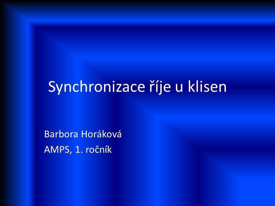 Synchronizace říje u klisen Barbora Horáková AMPS, 1. ročník