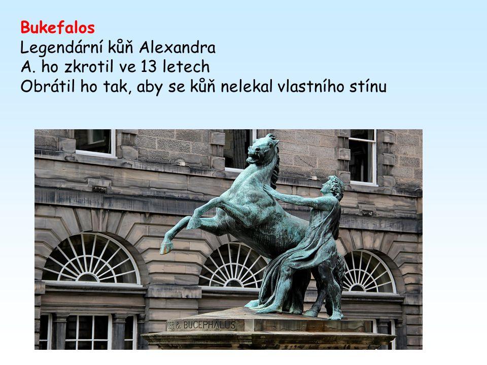 u Issu (získal královu pokladnici a zajal jeho matku a ženu) r.331 u Gaugamel – Dareios na útěku zavražděn vlastními lidmi Alexander se stal perským k