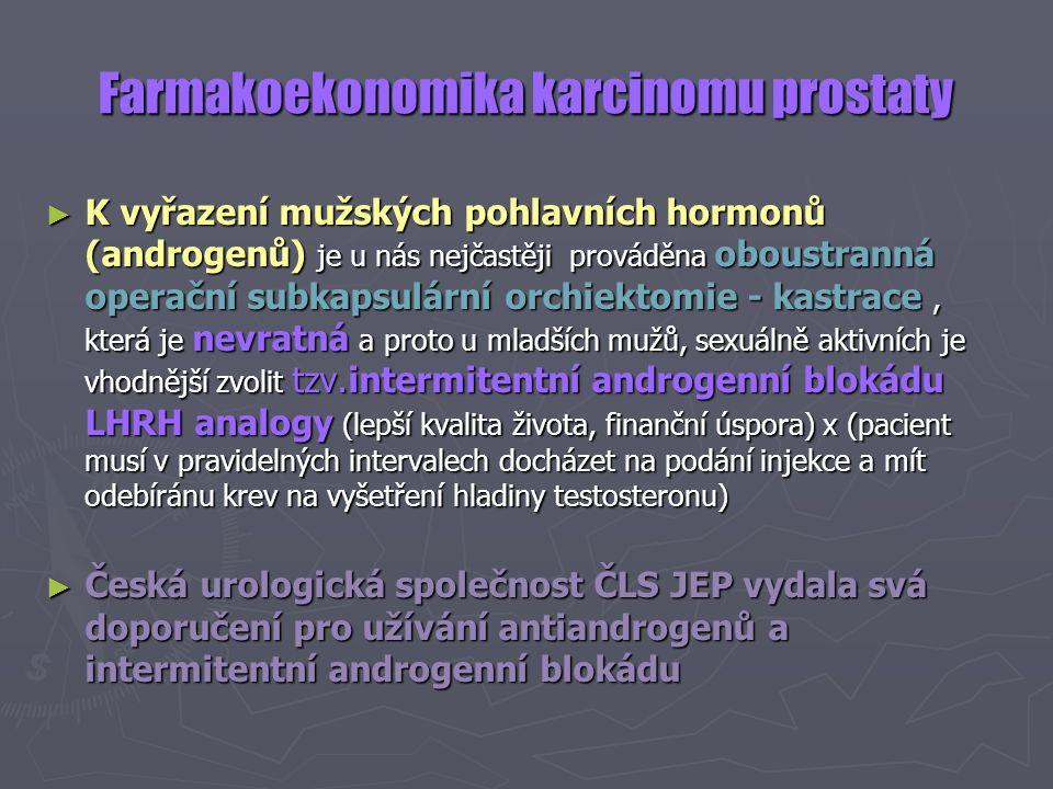 Farmakoekonomika karcinomu prostaty ► K vyřazení mužských pohlavních hormonů (androgenů) je u nás nejčastěji prováděna oboustranná operační subkapsulá