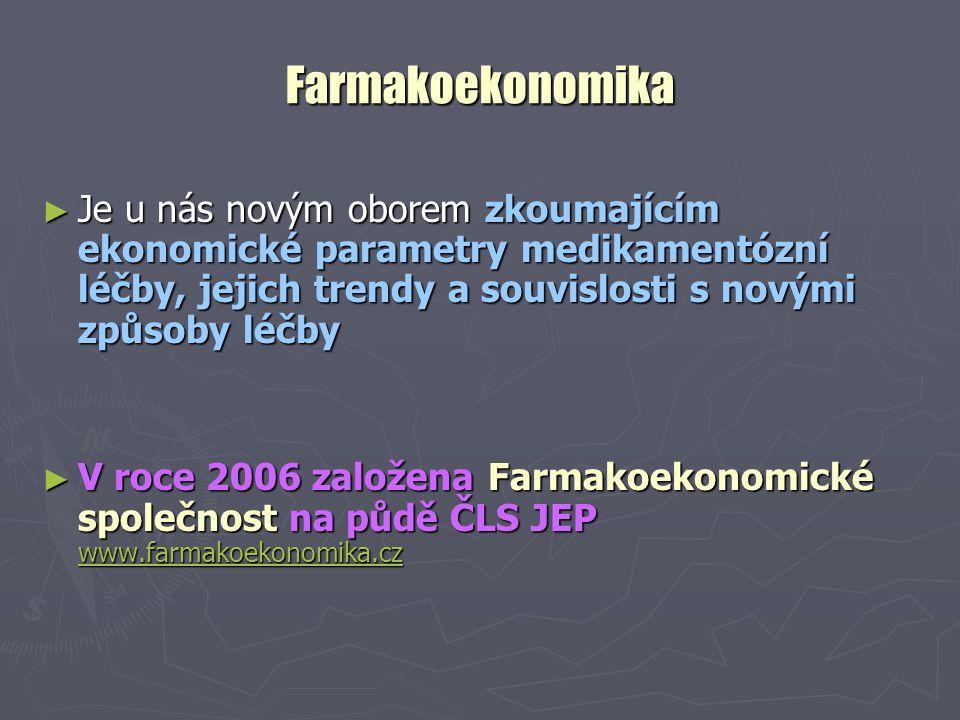 Farmakoekonomika ► Je u nás novým oborem zkoumajícím ekonomické parametry medikamentózní léčby, jejich trendy a souvislosti s novými způsoby léčby ► V