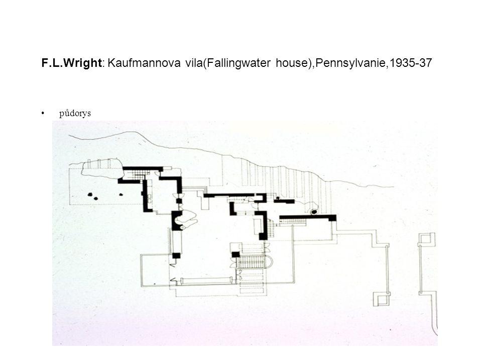 F.L.Wright: Kaufmannova vila(Fallingwater house),Pennsylvanie,1935-37 půdorys