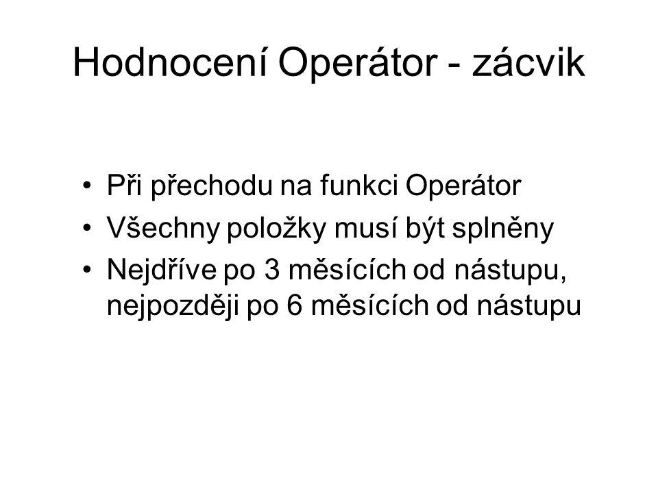 Hodnocení Operátor - zácvik Při přechodu na funkci Operátor Všechny položky musí být splněny Nejdříve po 3 měsících od nástupu, nejpozději po 6 měsících od nástupu