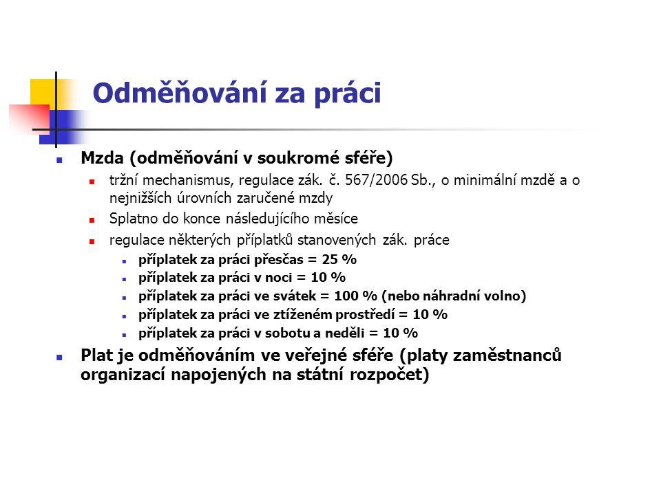 Mzda (odměňování v soukromé sféře) tržní mechanismus, regulace zák. č. 567/2006 Sb., o minimální mzdě a o nejnižších úrovních zaručené mzdy Splatno do