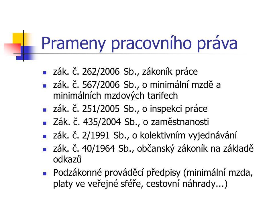 Prameny pracovního práva zák. č. 262/2006 Sb., zákoník práce zák. č. 567/2006 Sb., o minimální mzdě a minimálních mzdových tarifech zák. č. 251/2005 S