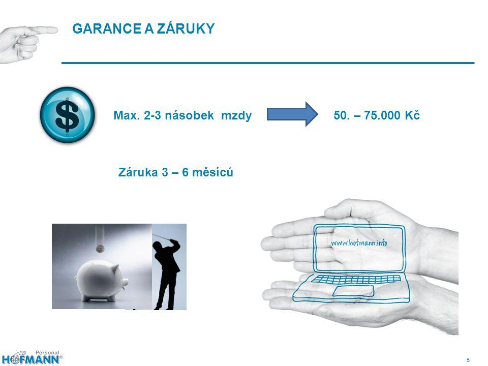 5 GARANCE A ZÁRUKY Max. 2-3 násobek mzdy 50. – 75.000 Kč Záruka 3 – 6 měsíců