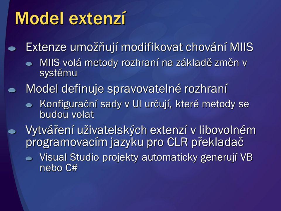 Model extenzí Extenze umožňují modifikovat chování MIIS MIIS volá metody rozhraní na základě změn v systému Model definuje spravovatelné rozhraní Konfigurační sady v UI určují, které metody se budou volat Vytváření uživatelských extenzí v libovolném programovacím jazyku pro CLR překladač Visual Studio projekty automaticky generují VB nebo C#