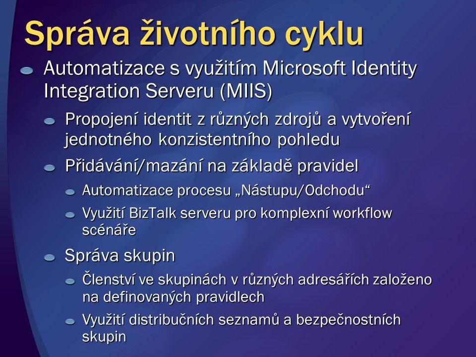 """Správa životního cyklu Automatizace s využitím Microsoft Identity Integration Serveru (MIIS) Propojení identit z různých zdrojů a vytvoření jednotného konzistentního pohledu Přidávání/mazání na základě pravidel Automatizace procesu """"Nástupu/Odchodu Využití BizTalk serveru pro komplexní workflow scénáře Správa skupin Členství ve skupinách v různých adresářích založeno na definovaných pravidlech Využití distribučních seznamů a bezpečnostních skupin"""