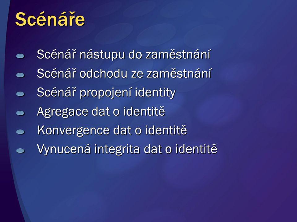 Scénáře Scénář nástupu do zaměstnání Scénář odchodu ze zaměstnání Scénář propojení identity Agregace dat o identitě Konvergence dat o identitě Vynucená integrita dat o identitě
