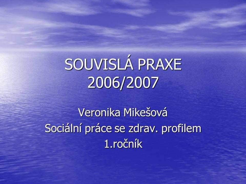 SOUVISLÁ PRAXE 2006/2007 Veronika Mikešová Sociální práce se zdrav. profilem 1.ročník