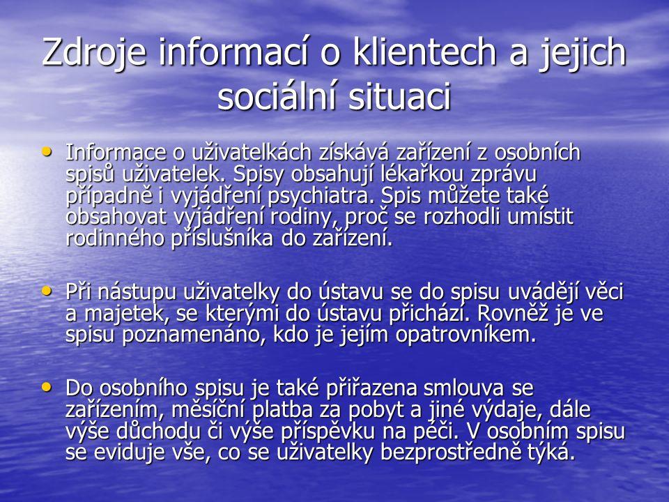 Zdroje informací o klientech a jejich sociální situaci Informace o uživatelkách získává zařízení z osobních spisů uživatelek. Spisy obsahují lékařkou