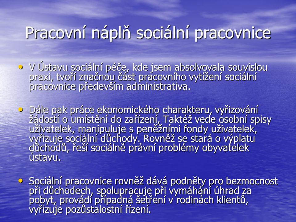 Pracovní náplň sociální pracovnice V Ústavu sociální péče, kde jsem absolvovala souvislou praxi, tvoří značnou část pracovního vytížení sociální praco