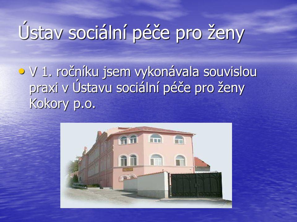 Ústav sociální péče pro ženy V 1. ročníku jsem vykonávala souvislou praxi v Ústavu sociální péče pro ženy Kokory p.o. V 1. ročníku jsem vykonávala sou