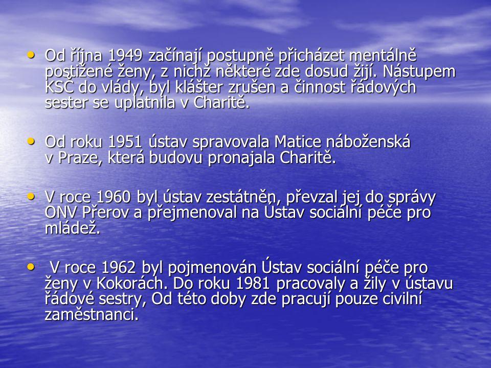 1975 – 1991 zřizovatelem Okresní ústav sociálních služeb v Přerově 1975 – 1991 zřizovatelem Okresní ústav sociálních služeb v Přerově V polovině roku 1991 OÚSS zrušen a ústav se stal, až do konce roku 1994, státní rozpočtovou organizací zřízenou Okresním úřadem v Přerově V polovině roku 1991 OÚSS zrušen a ústav se stal, až do konce roku 1994, státní rozpočtovou organizací zřízenou Okresním úřadem v Přerově 1.1.1995 dochází ke změně, kdy z rozpočtové organizace se stává příspěvková organizace, zřizovatel se nemění 1.1.1995 dochází ke změně, kdy z rozpočtové organizace se stává příspěvková organizace, zřizovatel se nemění