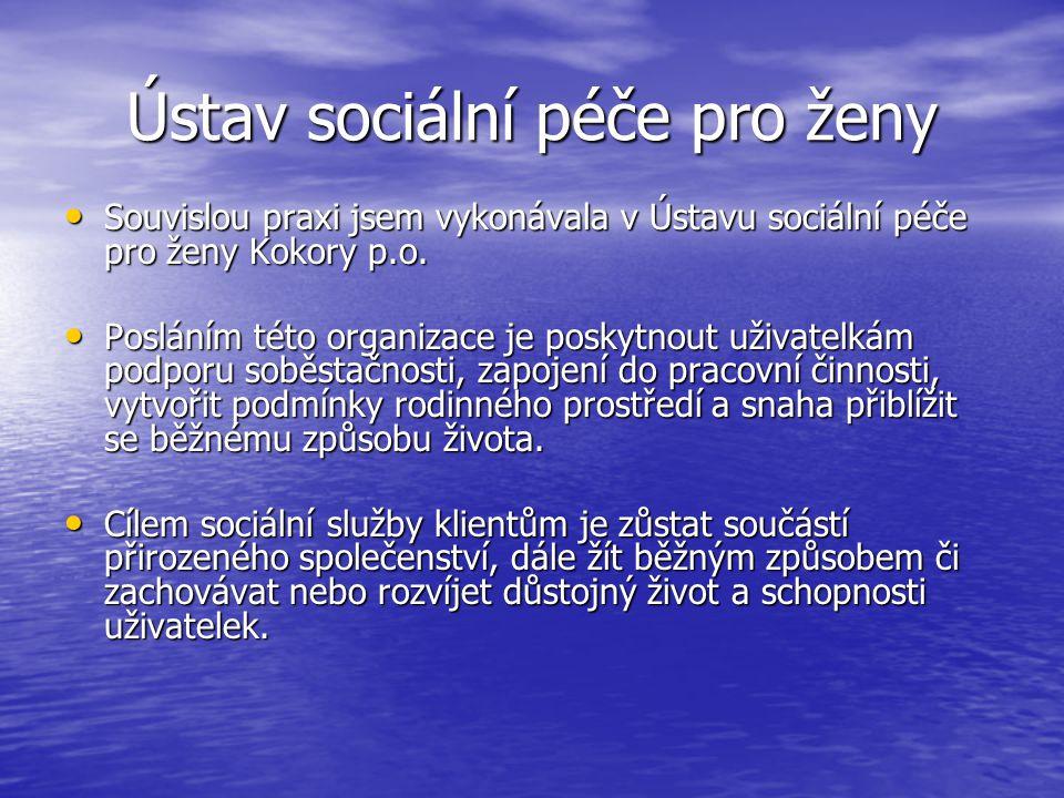 Ústav sociální péče pro ženy Souvislou praxi jsem vykonávala v Ústavu sociální péče pro ženy Kokory p.o. Souvislou praxi jsem vykonávala v Ústavu soci