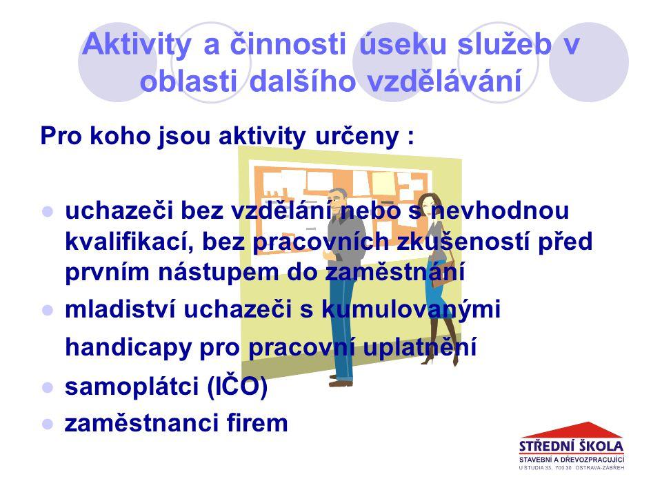 Aktivity a činnosti úseku služeb v oblasti dalšího vzdělávání Děkuji za pozornost a těším se na další setkání