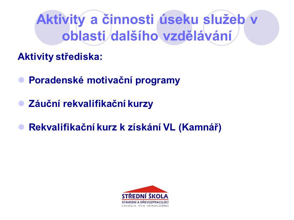 Aktivity a činnosti úseku služeb v oblasti dalšího vzdělávání Aktivity střediska: Poradenské motivační programy Záuční rekvalifikační kurzy Rekvalifikační kurz k získání VL (Kamnář)