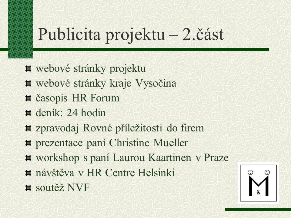 Publicita projektu – 2.část webové stránky projektu webové stránky kraje Vysočina časopis HR Forum deník: 24 hodin zpravodaj Rovné příležitosti do fir