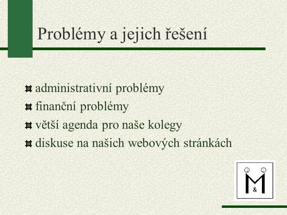 Problémy a jejich řešení administrativní problémy finanční problémy větší agenda pro naše kolegy diskuse na našich webových stránkách