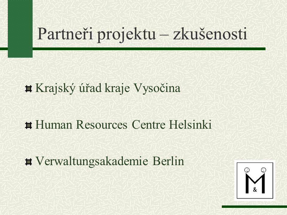 Partneři projektu – zkušenosti Krajský úřad kraje Vysočina Human Resources Centre Helsinki Verwaltungsakademie Berlin
