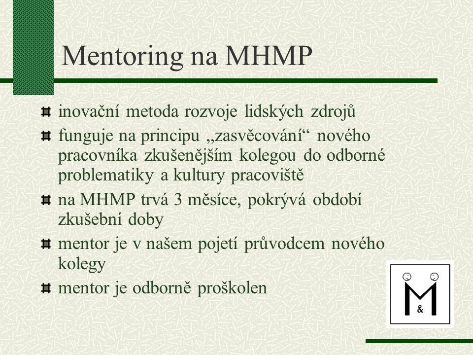 """Mentoring na MHMP inovační metoda rozvoje lidských zdrojů funguje na principu """"zasvěcování nového pracovníka zkušenějším kolegou do odborné problematiky a kultury pracoviště na MHMP trvá 3 měsíce, pokrývá období zkušební doby mentor je v našem pojetí průvodcem nového kolegy mentor je odborně proškolen"""