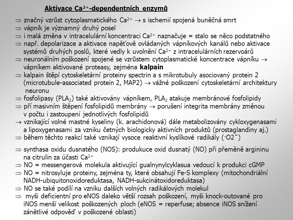 Aktivace Ca 2+ -dependentních enzymů  značný vzrůst cytoplasmatického Ca 2+  s ischemií spojená buněčná smrt  vápník je významný druhý posel  i malá změna v intracelulární koncentraci Ca 2+ naznačuje = stalo se něco podstatného  např.