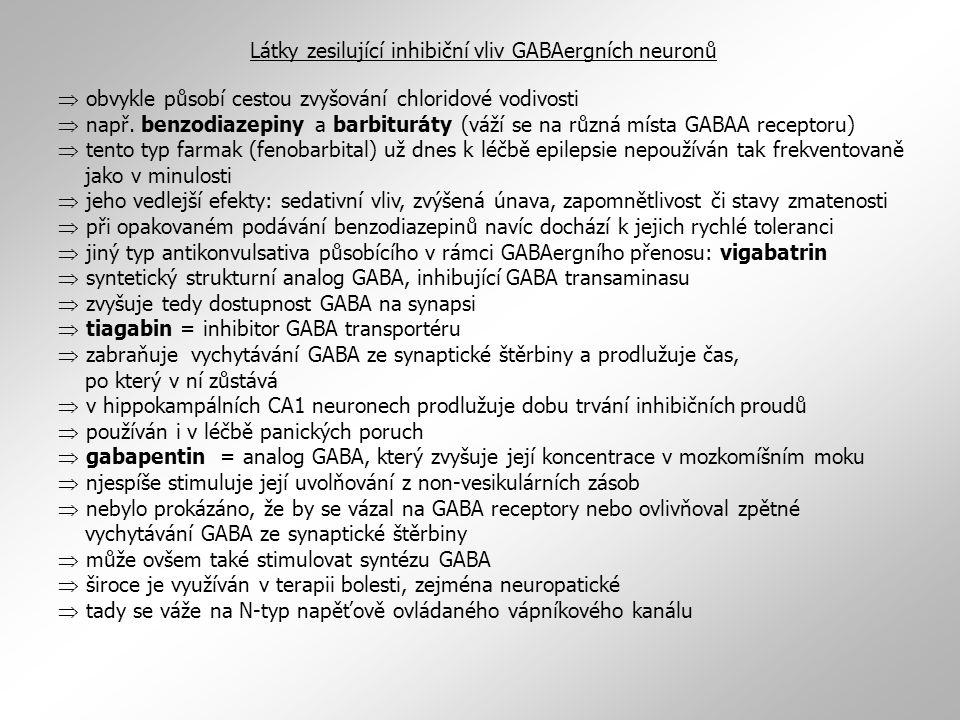  obvykle působí cestou zvyšování chloridové vodivosti  např. benzodiazepiny a barbituráty (váží se na různá místa GABAA receptoru)  tento typ farma