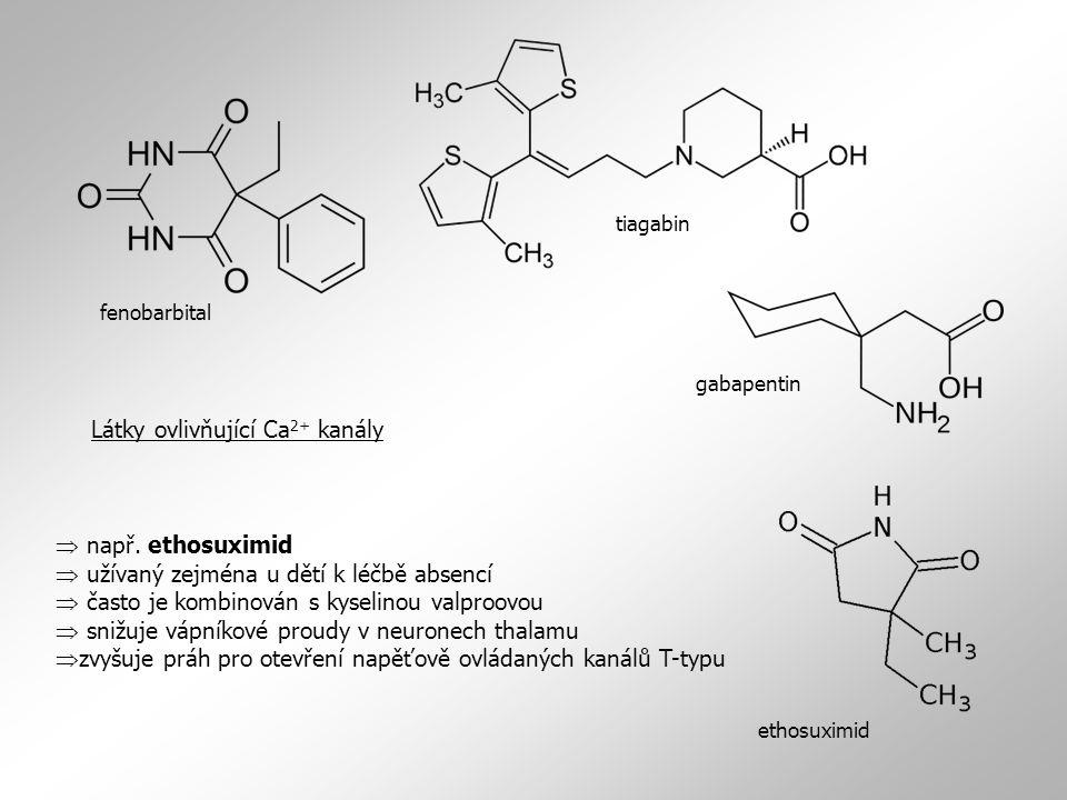  např. ethosuximid  užívaný zejména u dětí k léčbě absencí  často je kombinován s kyselinou valproovou  snižuje vápníkové proudy v neuronech thala