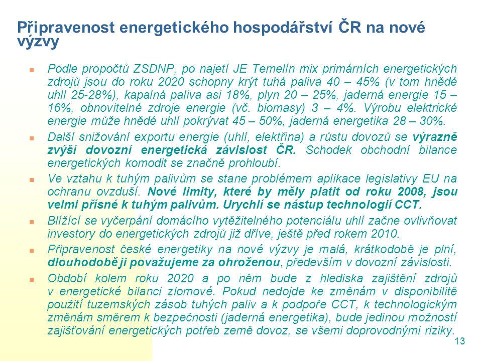 13 Připravenost energetického hospodářství ČR na nové výzvy Podle propočtů ZSDNP, po najetí JE Temelín mix primárních energetických zdrojů jsou do roku 2020 schopny krýt tuhá paliva 40 – 45% (v tom hnědé uhlí 25-28%), kapalná paliva asi 18%, plyn 20 – 25%, jaderná energie 15 – 16%, obnovitelné zdroje energie (vč.