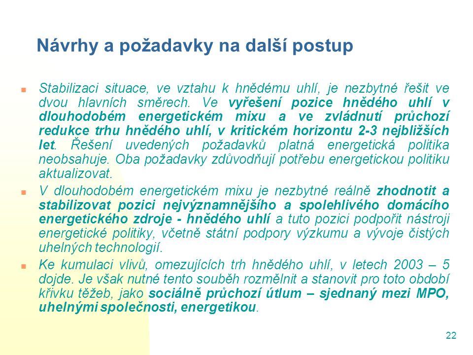 22 Návrhy a požadavky na další postup Stabilizaci situace, ve vztahu k hnědému uhlí, je nezbytné řešit ve dvou hlavních směrech. Ve vyřešení pozice hn