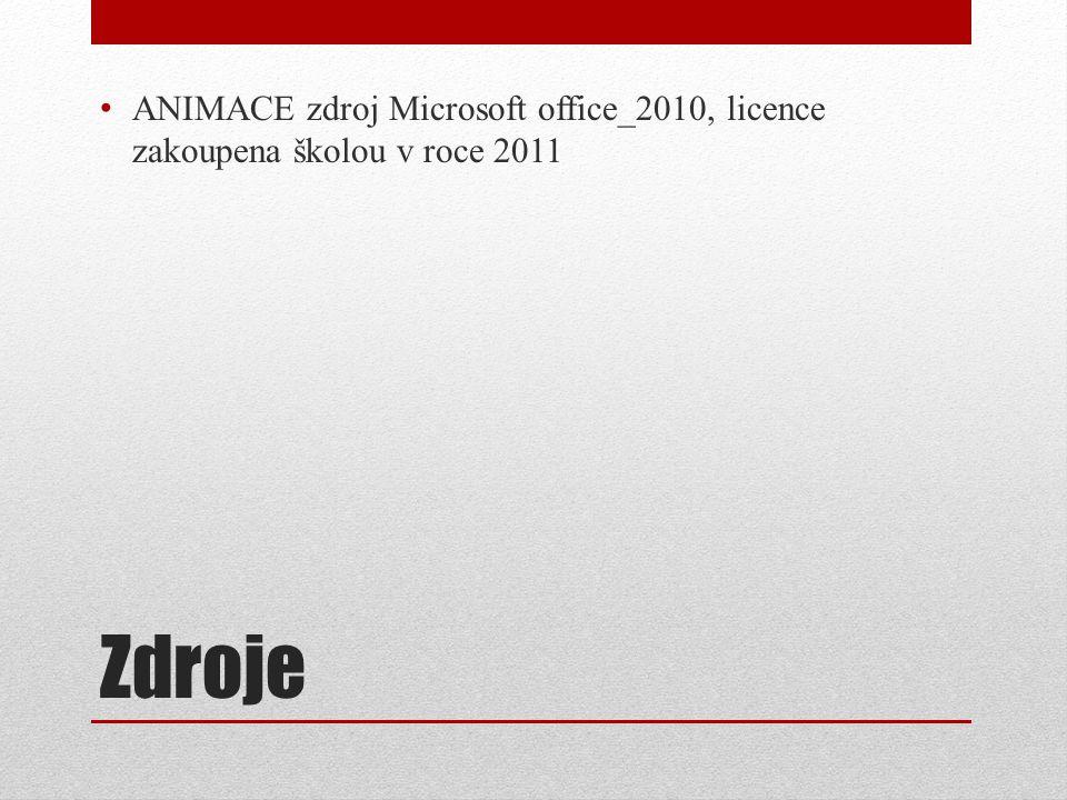 Zdroje ANIMACE zdroj Microsoft office_2010, licence zakoupena školou v roce 2011