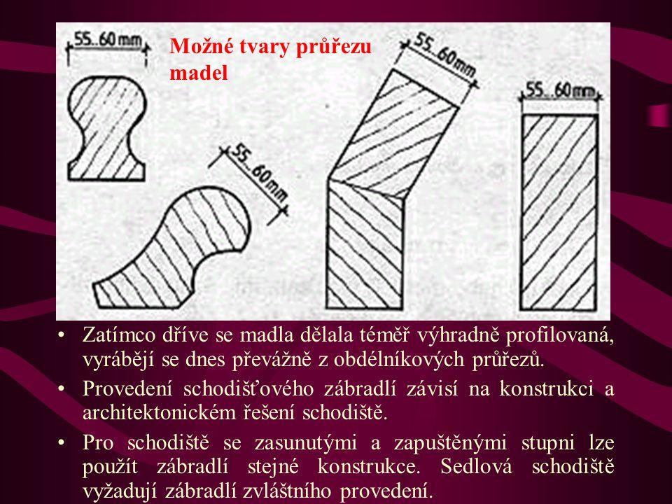 Schodišťová zábradlí Zatímco dříve se madla dělala téměř výhradně profilovaná, vyrábějí se dnes převážně z obdélníkových průřezů.