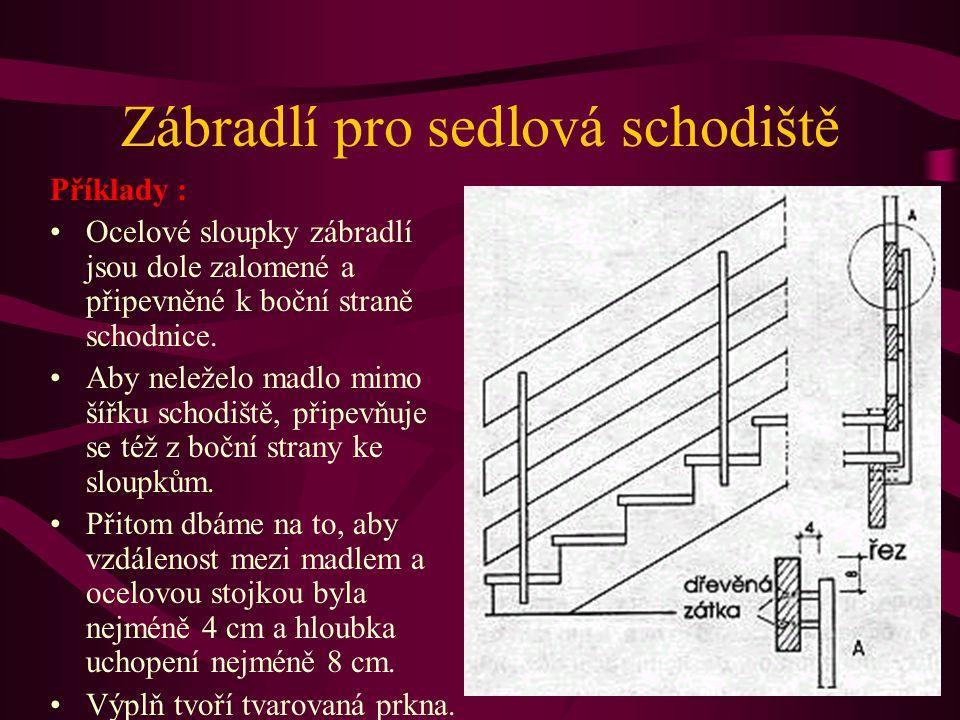 Zábradlí pro sedlová schodiště Tato zábradlí se vyrábějí obtížněji, protože schodnice jsou pod stupnicemi odsazeny o několik centimetrů. Sloupky a tyč