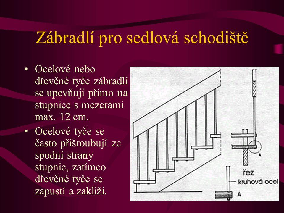 Zábradlí pro sedlová schodiště Příklady : Ocelové sloupky zábradlí jsou dole zalomené a připevněné k boční straně schodnice. Aby neleželo madlo mimo š