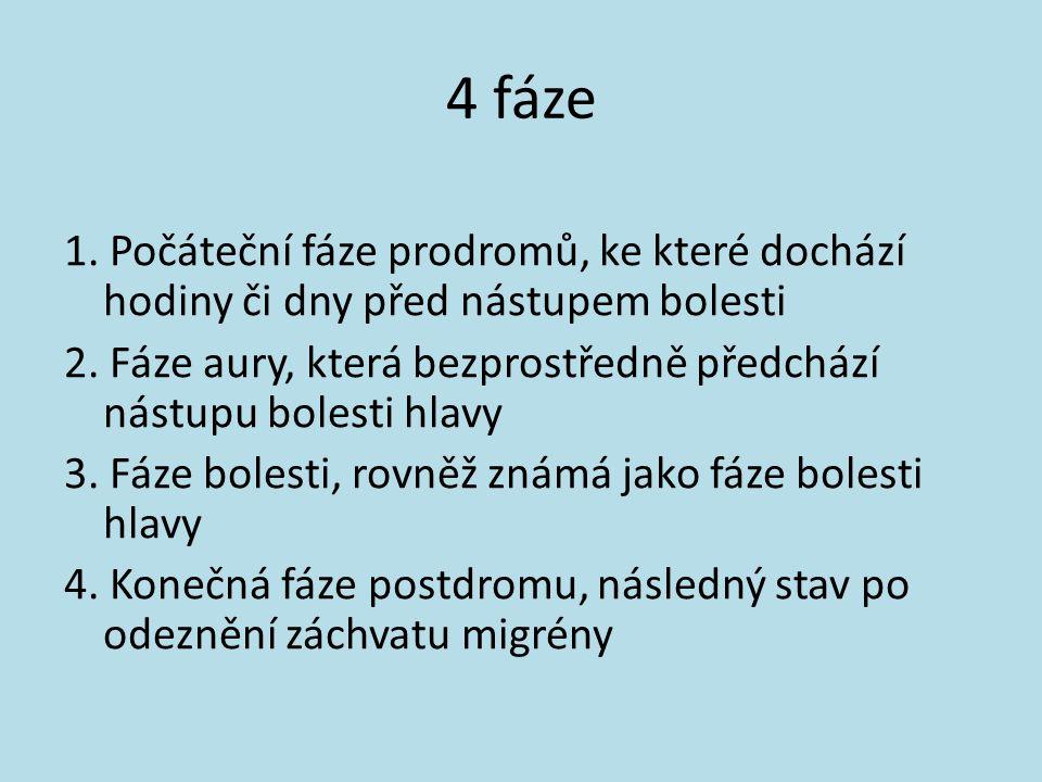 4 fáze 1. Počáteční fáze prodromů, ke které dochází hodiny či dny před nástupem bolesti 2. Fáze aury, která bezprostředně předchází nástupu bolesti hl