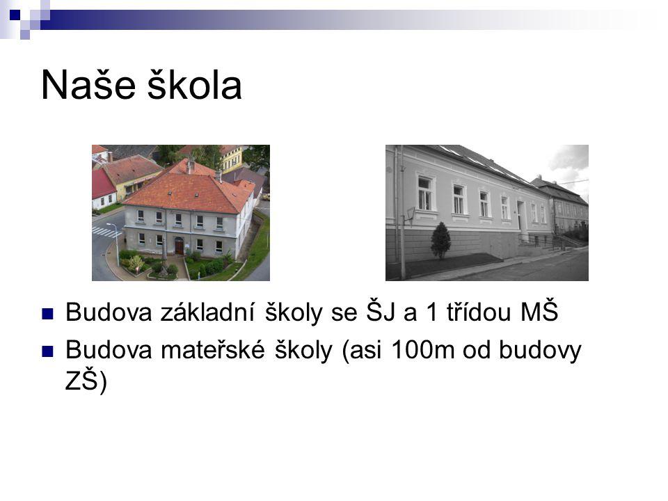 Naše škola Budova základní školy se ŠJ a 1 třídou MŠ Budova mateřské školy (asi 100m od budovy ZŠ)