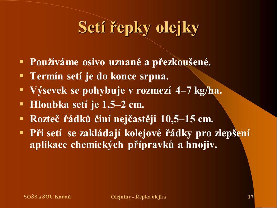 SOŠS a SOU KadaňOlejniny - Řepka olejka17 Setí řepky olejky  Používáme osivo uznané a přezkoušené.  Termín setí je do konce srpna.  Výsevek se pohy