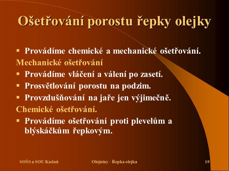 SOŠS a SOU KadaňOlejniny - Řepka olejka19 Ošetřování porostu řepky olejky  Provádíme chemické a mechanické ošetřování. Mechanické ošetřování  Provád