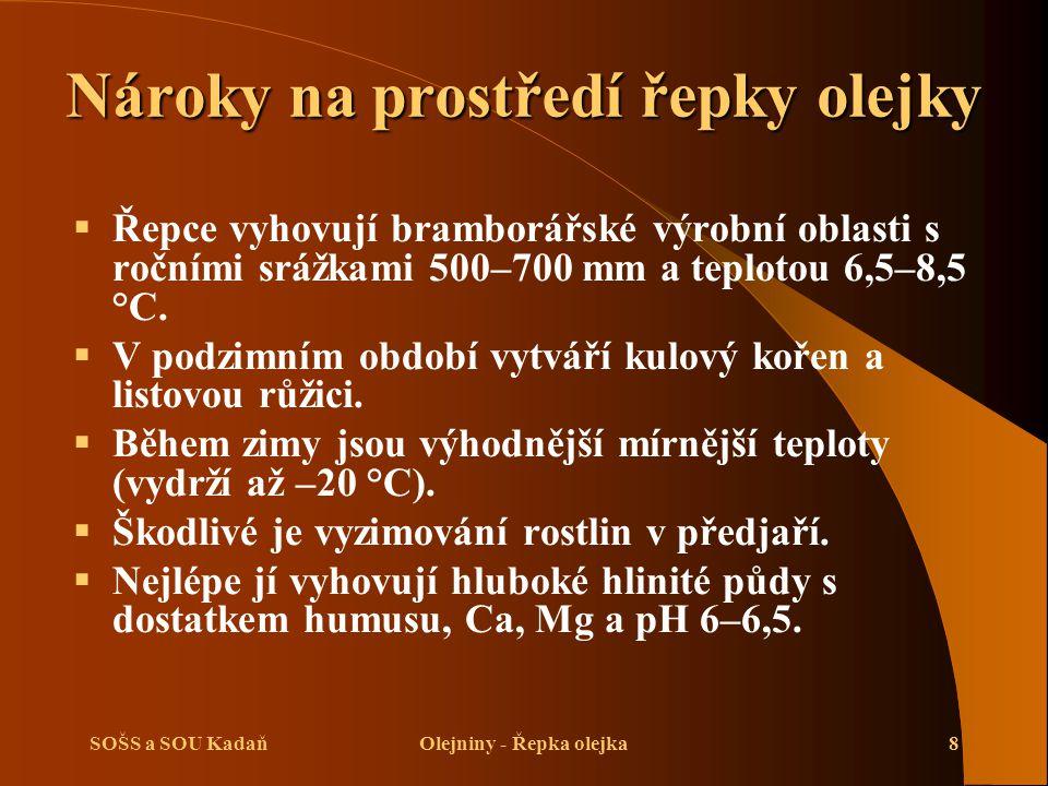 SOŠS a SOU KadaňOlejniny - Řepka olejka8 Nároky na prostředí řepky olejky  Řepce vyhovují bramborářské výrobní oblasti s ročními srážkami 500–700 mm