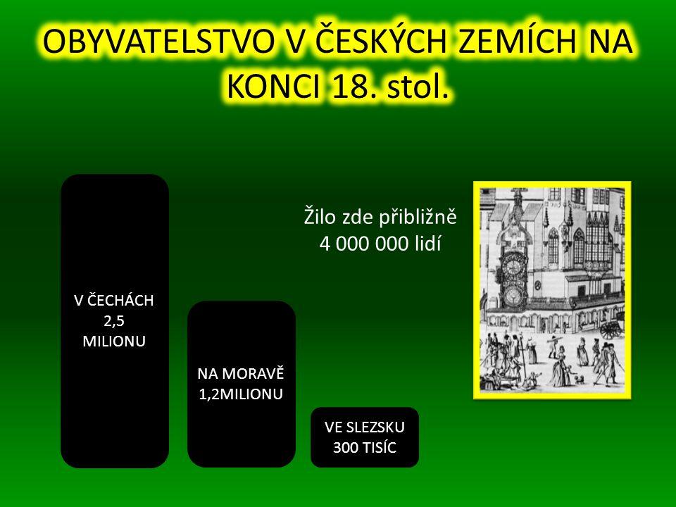V ČECHÁCH 2,5 MILIONU VE SLEZSKU 300 TISÍC NA MORAVĚ 1,2MILIONU Žilo zde přibližně 4 000 000 lidí