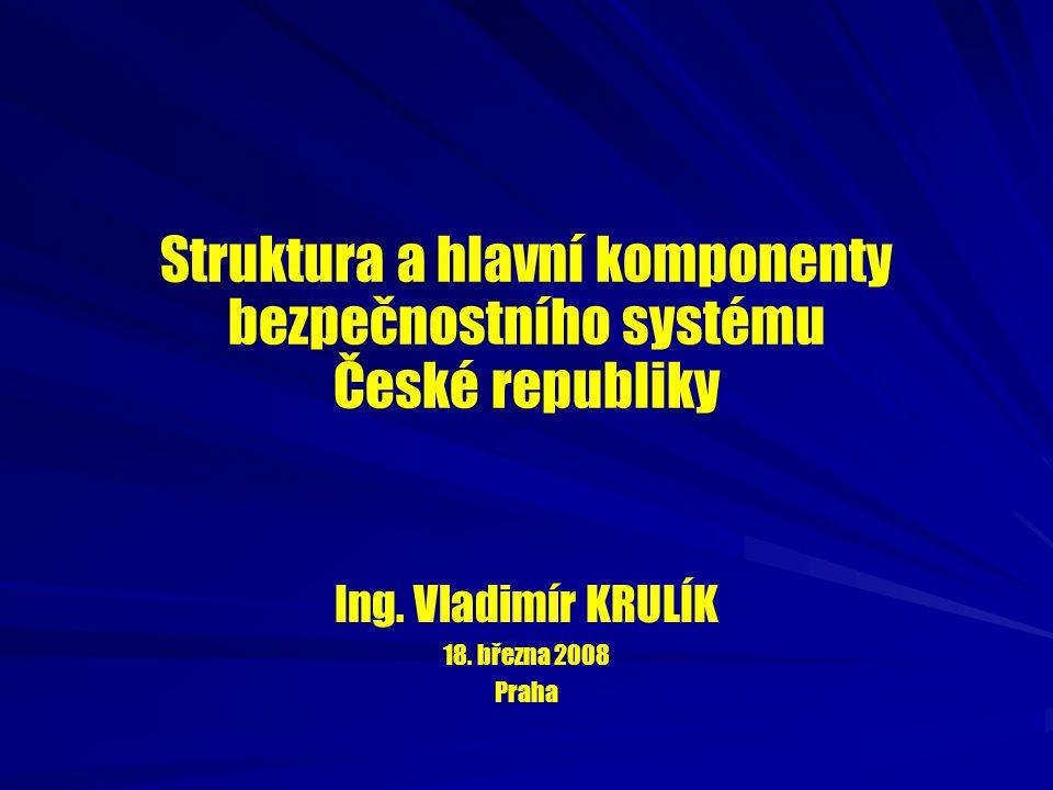 Struktura a hlavní komponenty bezpečnostního systému České republiky Ing. Vladimír KRULÍK 18. března 2008 Praha