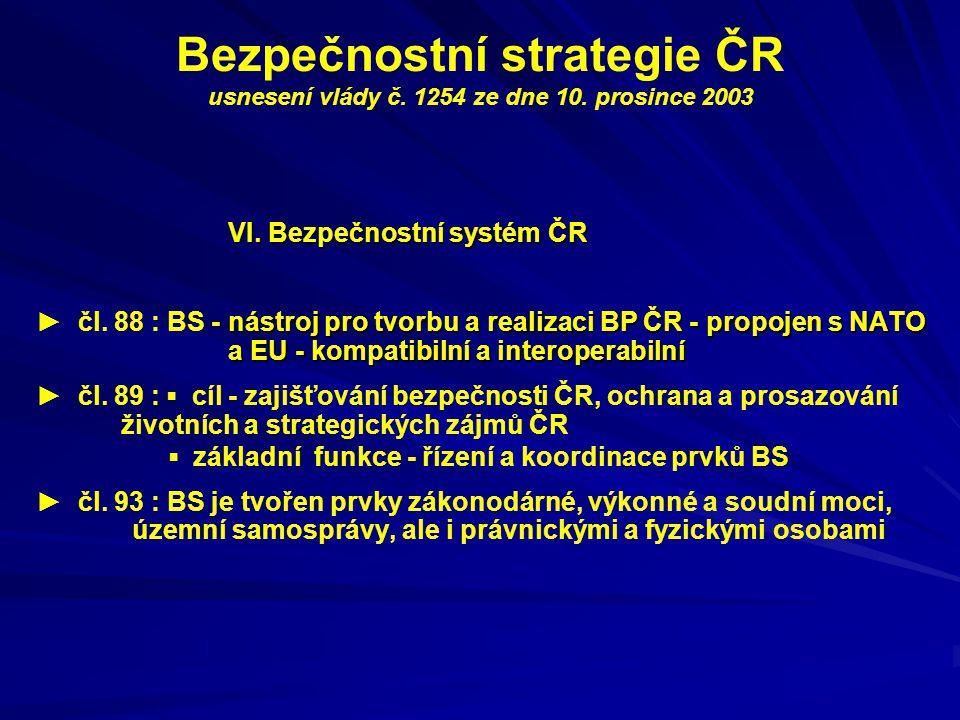 Bezpečnostní strategie ČR usnesení vlády č. 1254 ze dne 10. prosince 2003 VI. Bezpečnostní systém ČR nástroj pro tvorbu a realizaci BP ČR - propojen s