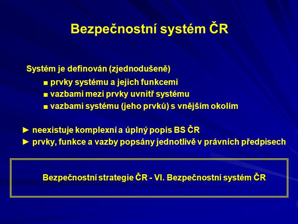 Bezpečnostní systém ČR Systém je definován (zjednodušeně) ■ prvky systému a jejich funkcemi ■ vazbami mezi prvky uvnitř systému ■ vazbami systému (jeh
