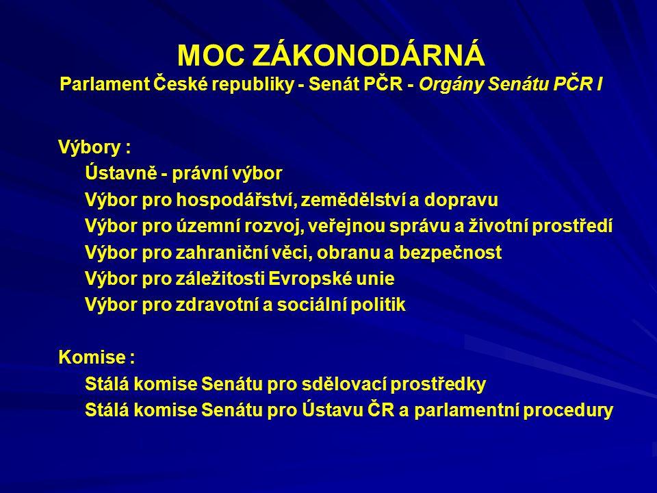 MOC ZÁKONODÁRNÁ Parlament České republiky - Senát PČR - Orgány Senátu PČR I Výbory : Ústavně - právní výbor Výbor pro hospodářství, zemědělství a dopr