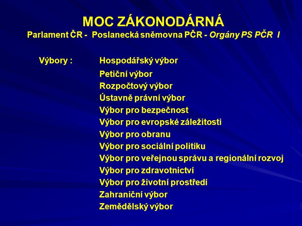 MOC ZÁKONODÁRNÁ Parlament ČR - Poslanecká sněmovna PČR - Orgány PS PČR I Výbory : Hospodářský výbor Petiční výbor Rozpočtový výbor Ústavně právní výbo