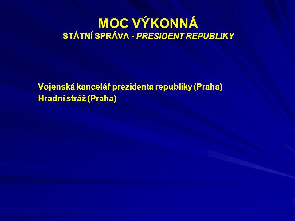 MOC VÝKONNÁ STÁTNÍ SPRÁVA - PRESIDENT REPUBLIKY Vojenská kancelář prezidenta republiky (Praha) Hradní stráž (Praha)