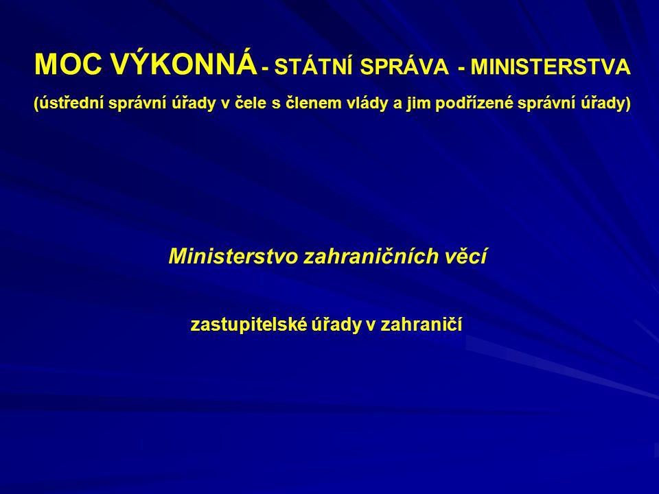 MOC VÝKONNÁ - STÁTNÍ SPRÁVA - MINISTERSTVA (ústřední správní úřady v čele s členem vlády a jim podřízené správní úřady) Ministerstvo zahraničních věcí