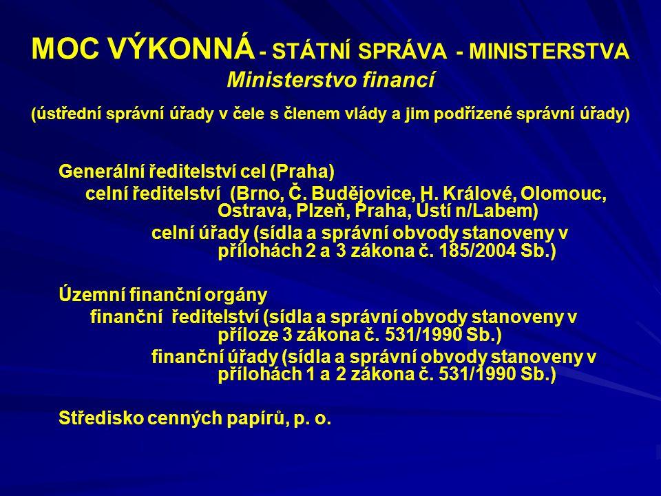 MOC VÝKONNÁ - STÁTNÍ SPRÁVA - MINISTERSTVA Ministerstvo financí (ústřední správní úřady v čele s členem vlády a jim podřízené správní úřady) Generální