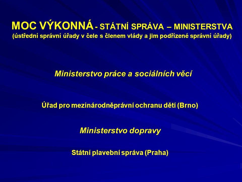 MOC VÝKONNÁ - STÁTNÍ SPRÁVA – MINISTERSTVA (ústřední správní úřady v čele s členem vlády a jim podřízené správní úřady) Ministerstvo práce a sociálníc